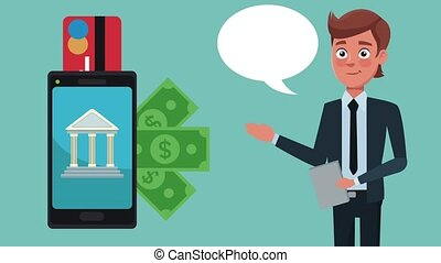 Bank mobile app HD animation - Businessman showing bank...