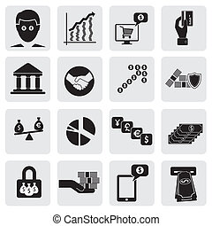 bank & money icons(signs) related to wealth, assets- vector graphic. This illustration can also represent savings account, investments, wealth creation, banking business, saving money(cash),credit cards