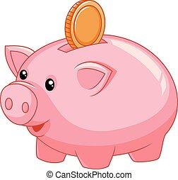 bank, munt, spotprent, piggy