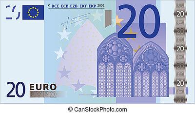 bank-note, 20, 欧元