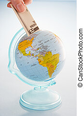 Bank Note And Globe