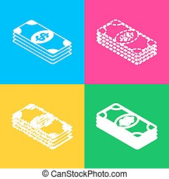 Bank Note dollar sign. Four styles of icon on four color squares.