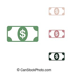 Bank Note dollar sign. Russian green icon with small jungle green, puce and desert sand ones on white background. Illustration.