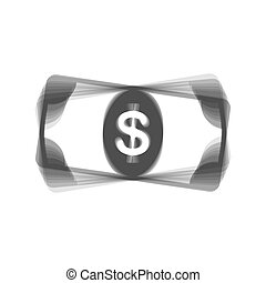 Bank Note dollar sign. Vector. Gray icon shaked at white background.