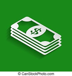 Bank Note dollar sign. Vector. Paper whitish icon with soft shadow on green background.
