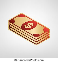 Bank Note dollar sign. Vector. Red icon on gold sticker at...