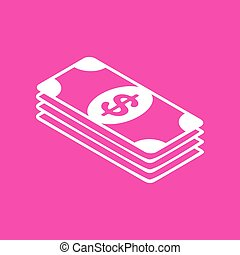 Bank Note dollar sign. White icon at magenta background.
