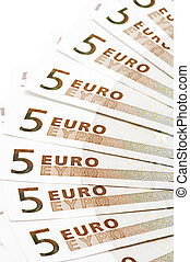 bank note five Euro - object on white - European bank paper