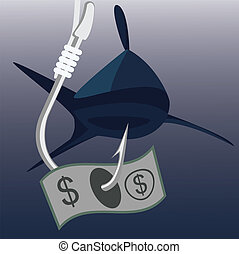 bank note on fishing hook with shark on background - money...