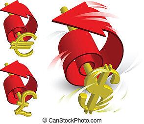Bank note with flag arrow symbolizing monetary turn