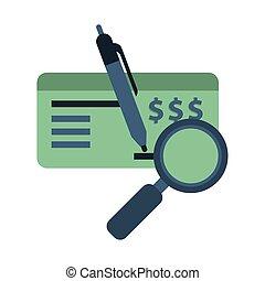 bank notują, czek, ikona, pióro