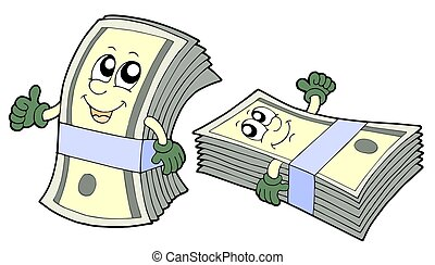 Pair of cute banknotes - isolated illustration.