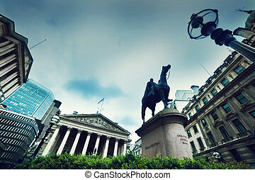 Bank of England, the Royal Exchange and the Wellington statue. London, the UK