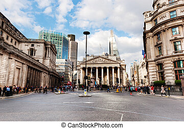 Bank of England, the Royal Exchange in London, the UK.