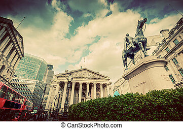 Bank of England, the Royal Exchange in London, the UK. Vintage