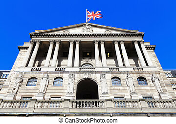 Bank of England with flag, The historical building in...