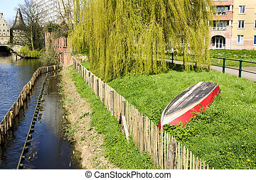 bank of Lieve canal  in Ghent, Belgium, Europe