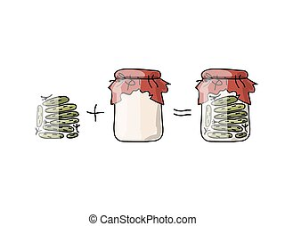 Bank of pickled cucumber, sketch for your design
