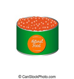 Bank of red caviar with the inscription natural product.