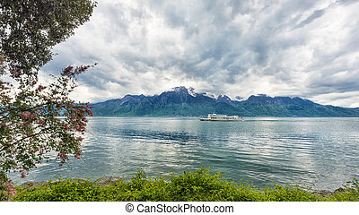 Bank of the Geneva lake with steam boat, Montreux....