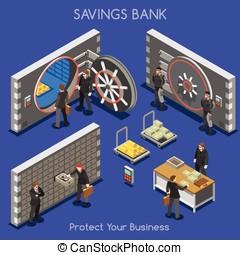 Bank Office 01 People Isometric - Bank Vault Building Floor...