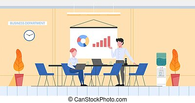 Bank office conept, business department. Bank staff make business analytics and data analysis. Optimization and progress. People working with graph and diagram. Flat vector illustration