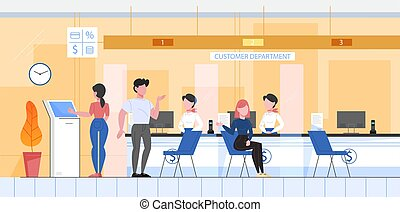 Bank office conept, customer department. People make financial operations, taking a loan and consulting. Client sitting at counter. Vector illustration in flat style