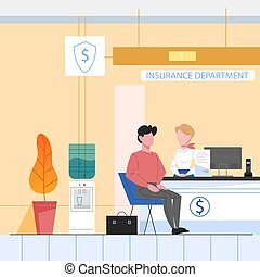 Bank office conept, Insurance department. People purchasing social insurance and consulting. Client sitting at counter. Vector illustration in flat style