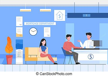 Bank office conept. People taking a loan and consulting in mortgage department. Client sitting at counter. Vector illustration in flat style
