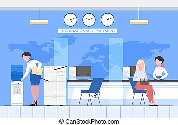 Bank office conept. People make financial operations in international department. Client sitting at counter. Vector illustration in flat style