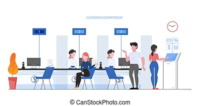 Bank office conept. People make financial operations, taking a loan and consulting. Client sitting at counter. Vector illustration in flat style