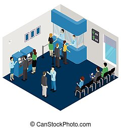Bank Office Isometric Concept - Bank office isometric...