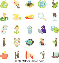Bank officer icons set, cartoon style