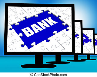 Bank On Monitors Shows Online Or Electronic Internet Banking
