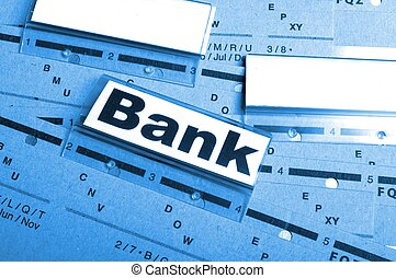 bank or banking word on tab folder showing finance or ...