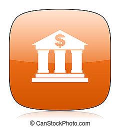 bank orange square web design glossy icon