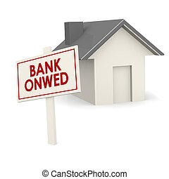 Bank owned banner with house