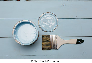Bank paints and brush