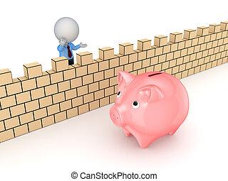 bank., parete, persona, dietro, piggy, piccolo, 3d