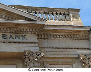 bank - stone building with carved word bank