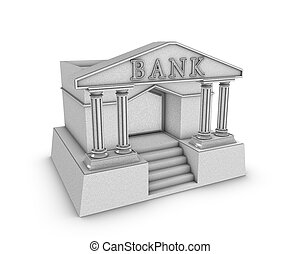 Bank - simple bank building in 3d over white background