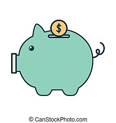 bank piggy on a white background