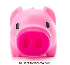 bank, piggy, vrijstaand, roze