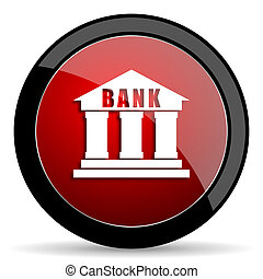 bank red circle glossy web icon on white background - set440