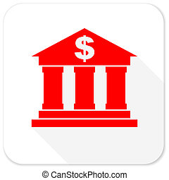 bank red flat icon with long shadow on white background