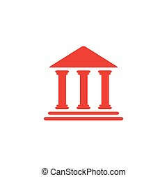 Bank Red Icon On White Background. Red Flat Style Vector Illustration.