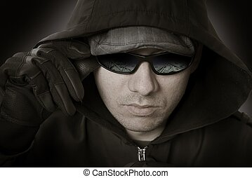 Bank Robber in Glasses. US Dollars Reflection in His...