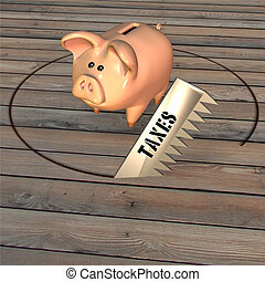 Bank Robbery - A saw representing taxes cutting the floor...