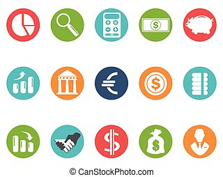 bank round buttons icon set