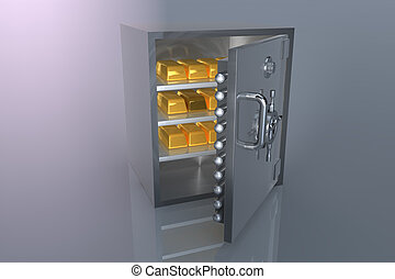 Bank safe and gold